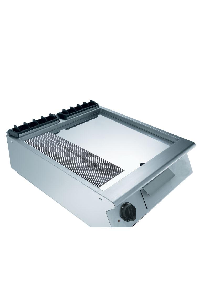 Mareno 700 Serisi Kromajlı 2/3 Düz 1/3 Oluklu Pleytli Elektrikli Izgara 60x73x25 cm - NFT76EMC