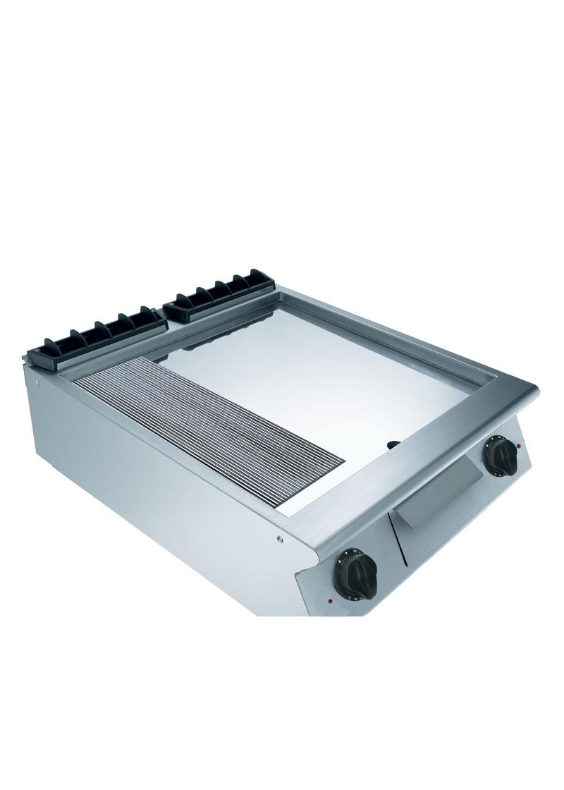 Mareno 900 Serisi Kromajlı 2/3 Düz 1/3 Oluklu Pleytli Elektrikli Izgara 80x90x25 cm - NFT98EMC